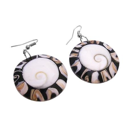 Natural Shell Shiva Eye Round Circle Earrings Christmas Jewelry Gift