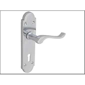 Forge Backplate Handle Lock - Gable Chrome Finish