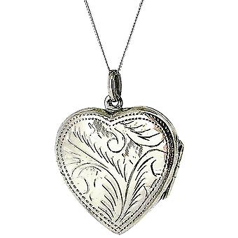 TOC Sterling Silver Engraved Heart Locket (30mm) Necklace 18