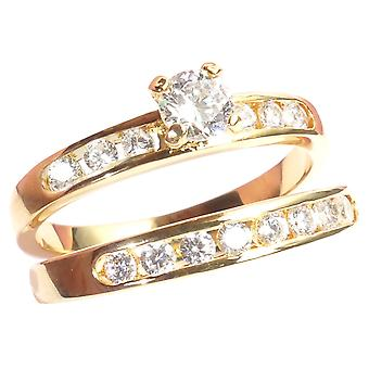 Women's Gold 0.34CT Electroplated Ring Set With 4.5mm Prong Set Solitaire