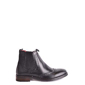 Base London Black Leather Ankle Boots