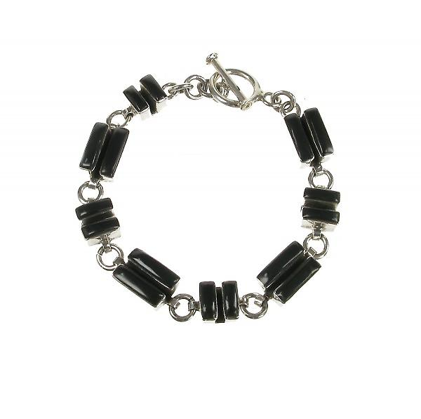 Cavendish French Sterling Silver and Black Agate Deco Bracelet