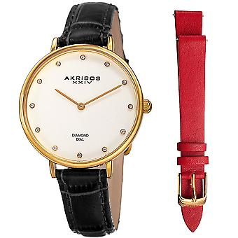 Women's Akribos XXIV AK933YG-BX 12 Diamond Marker Genuine Leather Strap Watch