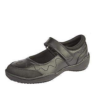 Roamers Girls Leather Touch Fastening School Shoe