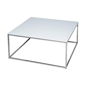 Gillmore Space White Glass And Silver Metal Contemporary Square Coffee Table