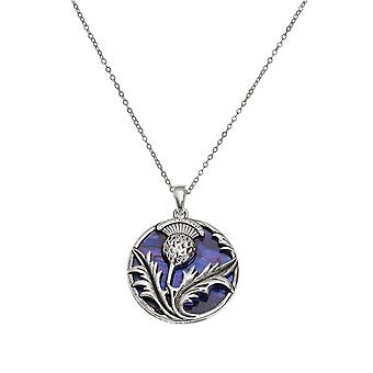 Eternal Collection Thistle Purple Paua Shell Silver Tone Pendant