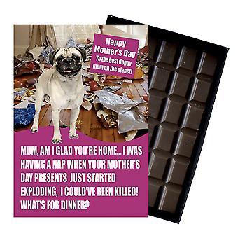 Pug eigenaar hond minnaar Moederdag dag cadeau chocolade voor moeder Mummy nieuwigheid aanwezig