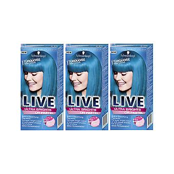 Schwarzkopf Ultra Brights 096 Turquoise Temptation Semi-Perm Hair Dye x 3 Pack
