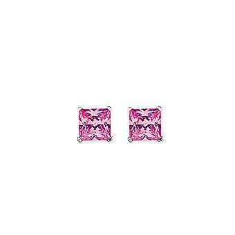Jewelco London Rhodium Plated Sterling Silver Pink Princess Cut Cubic Zirconia 4 Claw Solitaire Stud Earrings 7mm