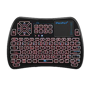 Ipazzport kp-810-61-rgb spanish three color backlit mini keyboard touchpad airmouse