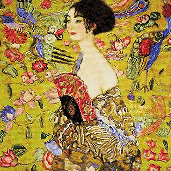 Lady With A Fan/G. Klimt's Painting Counted Cross Stitch Kit-13.75