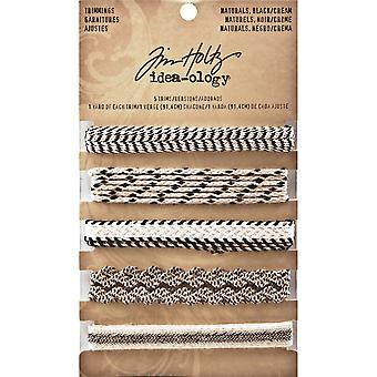 Idea Ology Naturals Trimmings 5 Styles 1 Yard Each Black Cream Th93105
