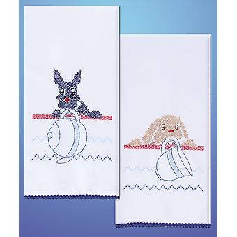 Stamped Kitchen Towels For Embroidery Dogs T264103