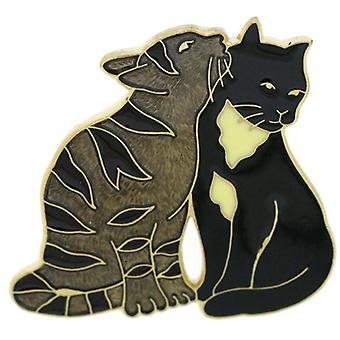 Fine Enamels Black  and  Brown Cats Lapel Pin Brooch