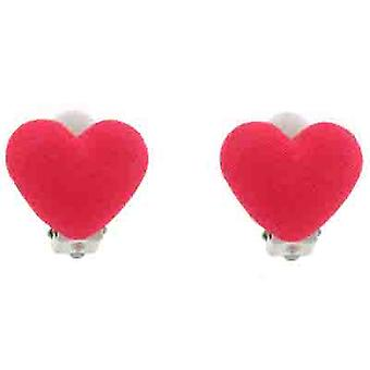 Clip On Earrings Store Glam Pink Fabric Heart Clip on Earrings