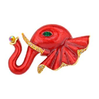Butler & Wilson Red Enamel Large Elephant Head Brooch