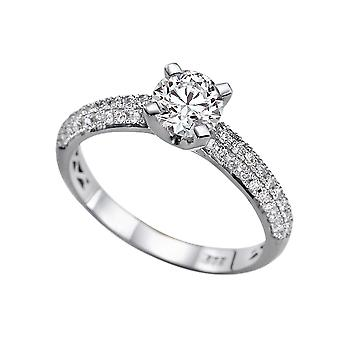 1.6 Carat H SI1 Diamond Engagement Ring 14K White Gold Solitaire w Accents Micro Pave Round
