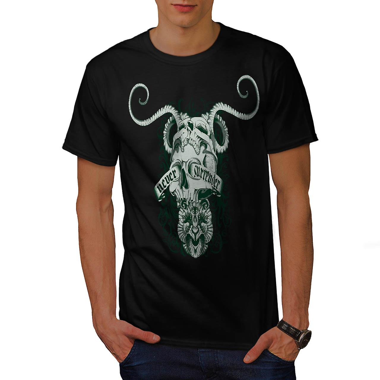 Never Surrender Skull Goat Head Men Black T-shirt | Wellcoda