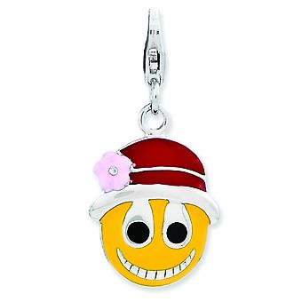 Sterling Silver Enameled Face With Flower Hat W Lobster Clasp Charm - 2.3 Grams