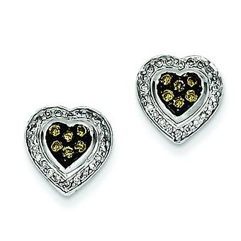 Sterling Silver Champagne Diamond Small Heart Post Earrings - .33 dwt