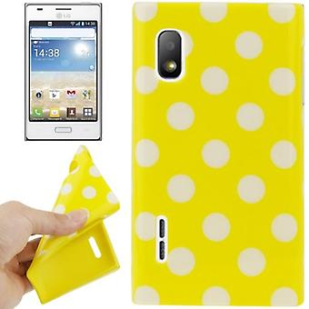 Protective case TPU points of case for mobile LG Optimus L5 / E610 yellow