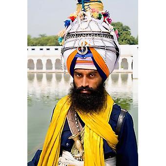 Sika Hindu Religious Man in Bangla Shib Gurudwara Sika Great Temple New Delhi India Poster Print by Bill Bachmann