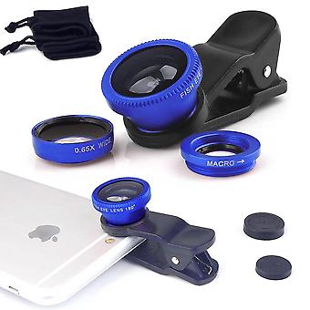 ONX3 HTC U Ultra (Blue) Mobile Phone Universal Camera Lens 3 in 1 Kit Wide Angle Lens + Fisheye Lens + Macro Lens with Clip-on 180 Degree For Both Android and iOS Devices