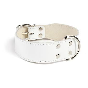 Doggy Things Plain Leather Dog Collar White 40cm