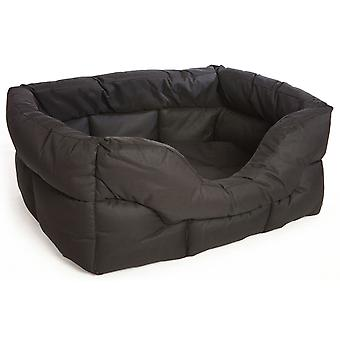 Country Dog Heavy Duty Waterproof Rectangle Drop Front Softee Bed Black 57x47x24cm