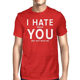 I Hate You Mens Red T-shirt Humorous Graphic Round Neck Tee For Men