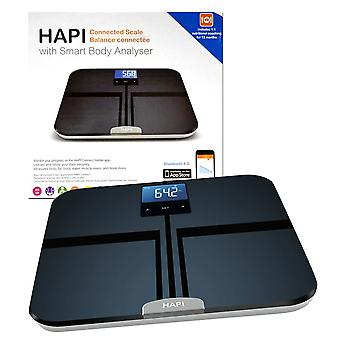 HAPI Bluetooth Connected Scales Smart Body Analyser with Connect App and 1:1 Nutritional Coaching 12 Months - Black/Silver (HBA100)