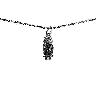 Silver 15x7mm Owl Pendant with a rolo Chain 14 inches Only Suitable for Children