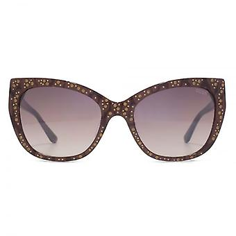 Guess Peaked Sunglasses In Dark Brown Lace Effect
