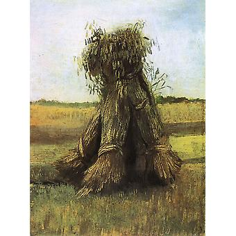 Vincent Van Gogh - Sheaves of Wheat in a Field, 1885 Poster Print Giclee
