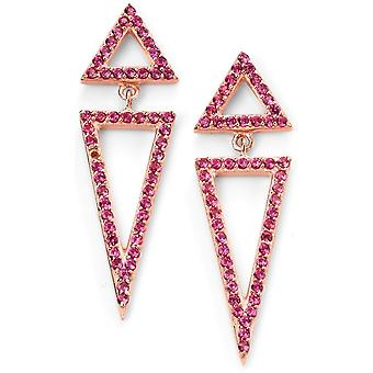 925 Silver Rose Gold Plated Triangle And Zirconium Earring Trend