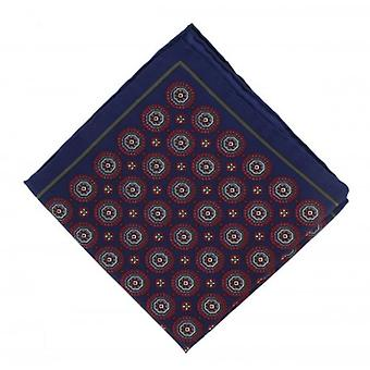 Michelsons af London Vintage medaljon silke Pocket Square - Navy