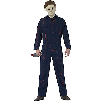 Smiffys Halloween H20 Michael Myers Costume Blue Jumpsuit Latex Mask & Knife (Costumes)