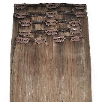 #8/18 Light Brunette with Golden Blonde Highlights - Clip-in Hair Extensions - Full Head