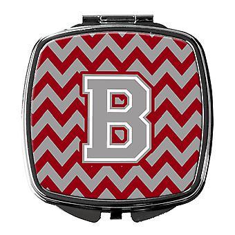 Letter B Chevron Crimson and Grey   Compact Mirror