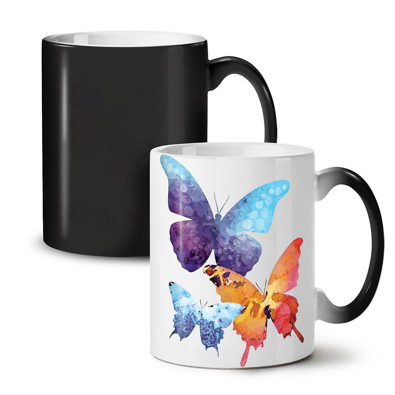 Couleur 11 Tasse OzWellcoda Nouveau Céramique Colorés Noir Café Papillons Changeant Thé yn0NmPv8wO