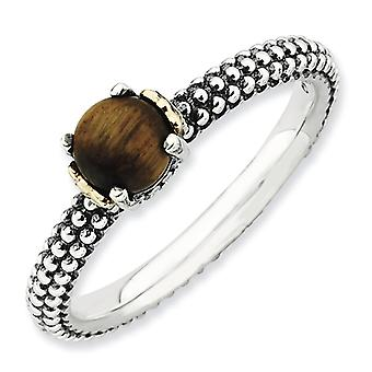2.5mm Sterling Silver and 14k Stackable Expressions Tigers Eye Antiqued Ring - Ring Size: 5 to 10