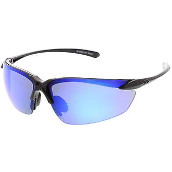 Sport halbrandlosen TR-90 Wrap Sonnenbrillen Ultra schlanke Arme farbige Spiegel-Objektiv 76 mm
