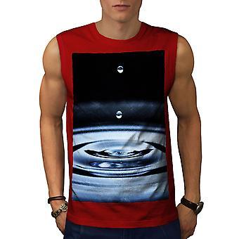 Water Drop Life Men RedSleeveless T-shirt | Wellcoda