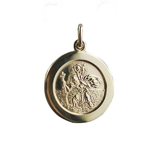 18ct Gold 21mm round St Christopher Pendant with car on back