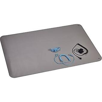 ESD bench mat set Platinum grey (L x W) 900 mm x 610 mm Wolfgang Warmbier 1400.663.C incl. PG cable, incl. PG connector,