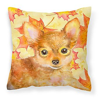 Carolines Treasures  BB9983PW1818 Toy Terrier Fall Fabric Decorative Pillow