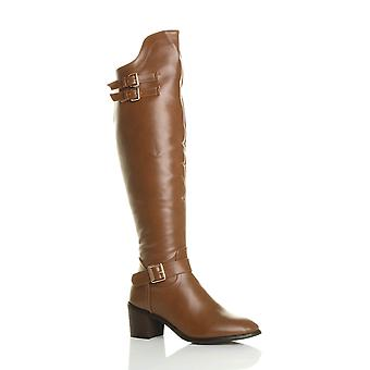Ajvani womens mid block heel zip buckles western riding over knee boots