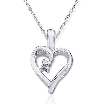 VS Diamond Solitaire Heart Pendant 14K White Gold With 18