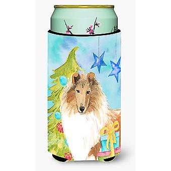 Christmas Tree Rough Collie Tall Boy Beverage Insulator Hugger