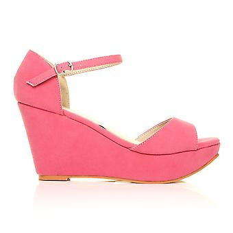 LACIE Fuchsia Faux Suede Wedge High Heel Platform Peep Toes